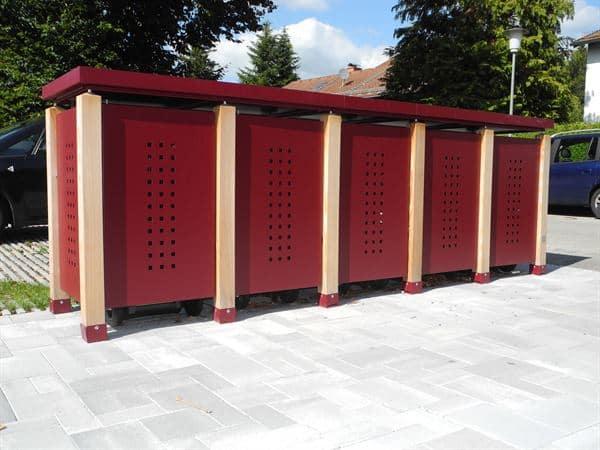 Mülltonnenbox verzinkt QUINTO für 5 Tonnen - 120 oder 240 Liter