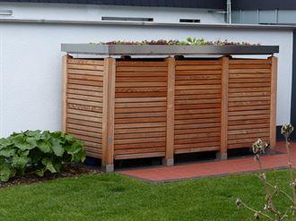 Mülltonnebox aus Holz für 3 Mülltonnen