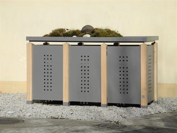 Mülltonnenbox verzinkt TRIO für drei Tonnen - 120 l oder 240 l
