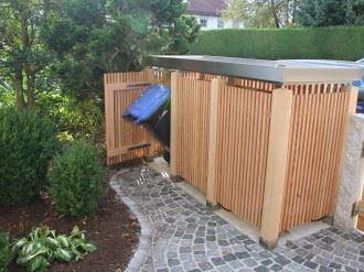 Mülltonnenbox Holz senkrecht TRIO 120 Liter