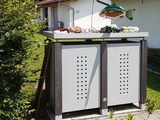 Mülltonnenbox verzinkt DUO für zwei Tonnen - 120 l oder 240 l