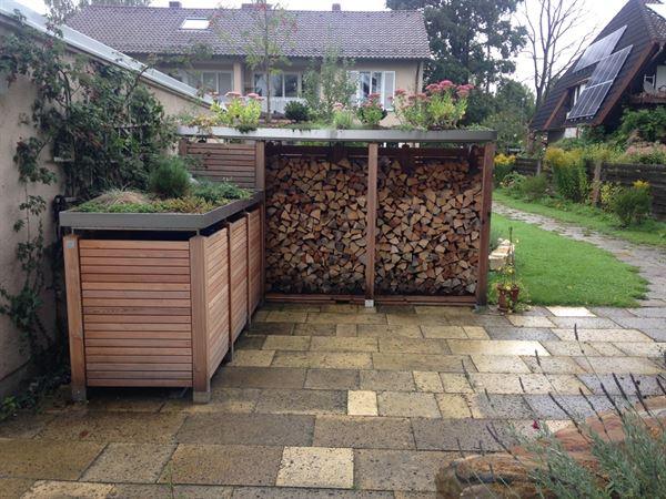 Tonnenbox Holzlatten waagerecht