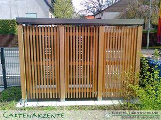 Gartenschrank Holz senkrecht mit 3 Abteile