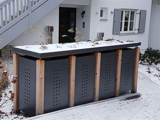Mülltonnenbox verzinkt QUATTRO für 4 Tonnen - 120 oder 240 Liter